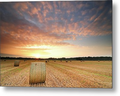 Hay Bale Field At Sunrise Metal Print by Stu Meech