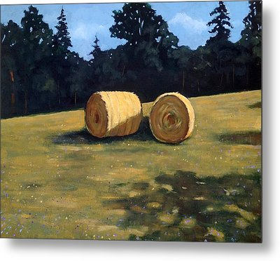 Hay Bales In The Morning Metal Print by Joyce Geleynse