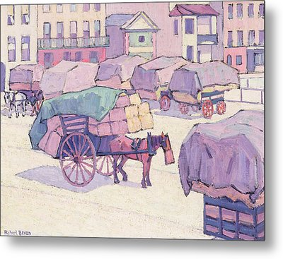 Hay Carts - Cumberland Market Metal Print by Robert Polhill Bevan