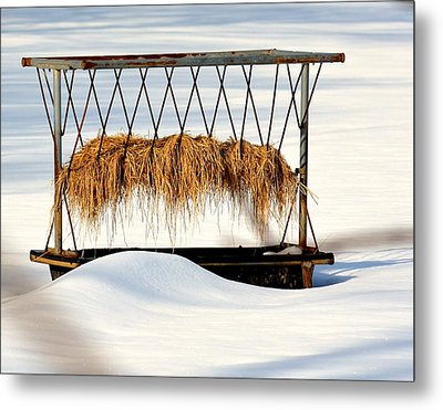 Hay Feeder In Winter Metal Print