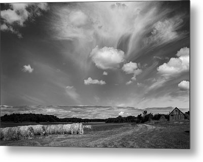Hay Field And Barn Clarks Lake Road Metal Print by Stephen Mack