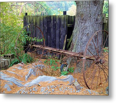 Hay Rake Composition Metal Print by Terry  Wiley
