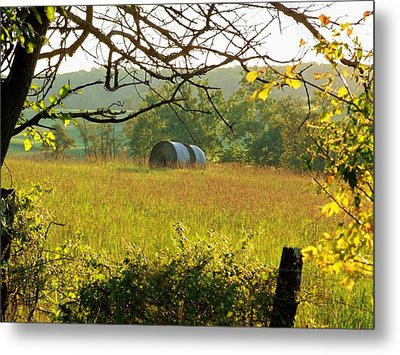 Hay Roll Meadow Metal Print