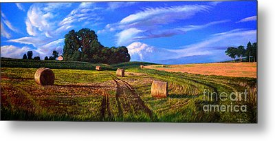 Hay Rolls On The Farm By Christopher Shellhammer Metal Print