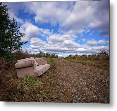 Metal Print featuring the photograph Hay Sofa Sky by Alan Raasch