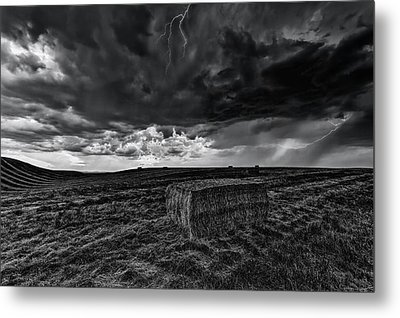 Hay Storm Black And White Metal Print by Mark Kiver