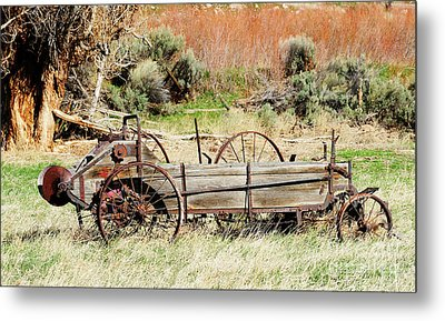 Hay Wagon At Butch Cassidy's Home Metal Print by Dennis Hammer