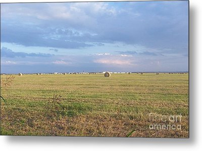 Haybales With Violet Sky Metal Print