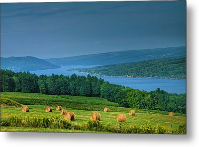 Hayfield And Lake I  Metal Print by Steven Ainsworth