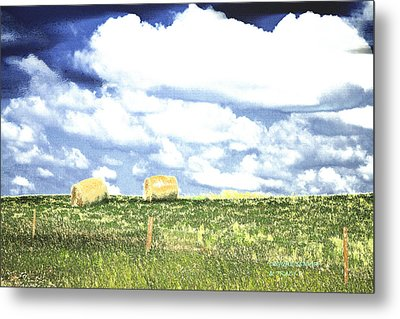 Hayfield Metal Print by Lenore Senior and Tracy F