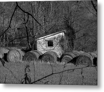 Hayroll Shed 2 Metal Print by Michael L Kimble