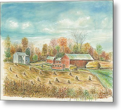 Haystacks At The Farm Metal Print by Samuel Showman