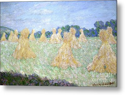 Haystacks The Young Ladies Of Giverny Sun Effect Metal Print by Claude Monet