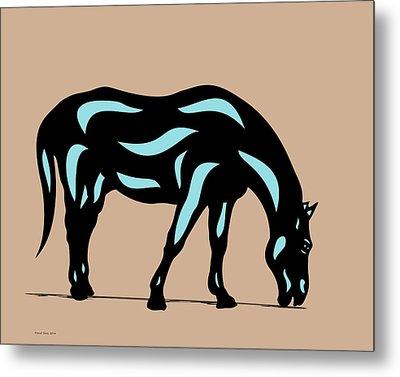 Hazel - Pop Art Horse - Black, Island Paradise Blue, Hazelnut Metal Print by Manuel Sueess