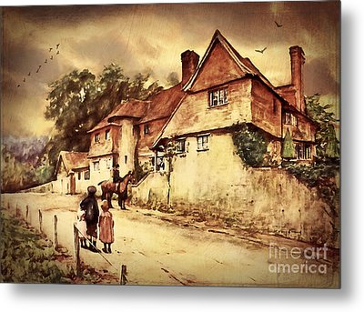 Metal Print featuring the digital art Hazelmere Cottage - English Lake District by Lianne Schneider