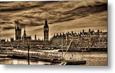 Hdr Sepia Westminster Metal Print by Andrea Barbieri