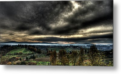 Hdr Tuscany Sunset Metal Print by Andrea Barbieri