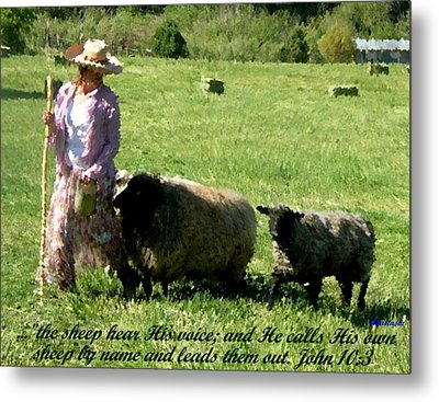 Metal Print featuring the painting He Calls His Own Sheep By Name by Anastasia Savage Ealy