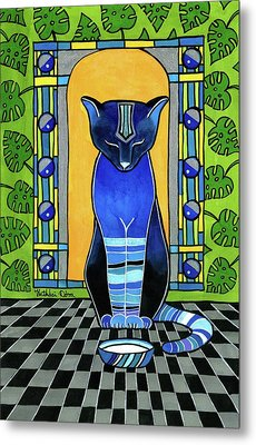 Metal Print featuring the painting He Is Back - Blue Cat Art by Dora Hathazi Mendes