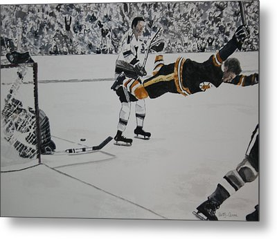 He Scores Metal Print by Betty-Anne McDonald