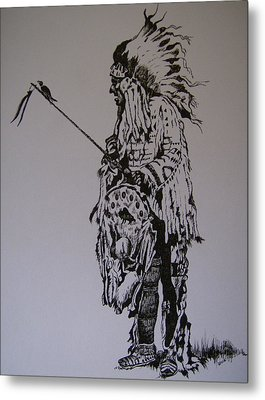 Head Dress Metal Print by Leslie Manley