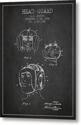 Head Guard Patent From 1924 - Charcoal Metal Print by Aged Pixel