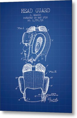 Head Guard Patent From 1930 - Blueprint Metal Print by Aged Pixel
