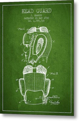 Head Guard Patent From 1930 - Green Metal Print by Aged Pixel