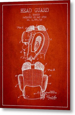 Head Guard Patent From 1930 - Red Metal Print by Aged Pixel
