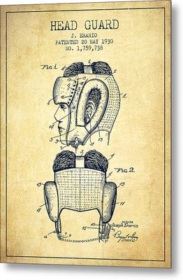 Head Guard Patent From 1930 - Vintage Metal Print by Aged Pixel