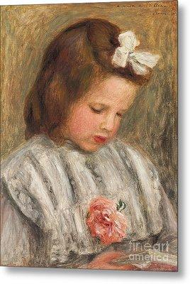 Head Of A Girl, Tete De Fillette Metal Print by Pierre Auguste Renoir