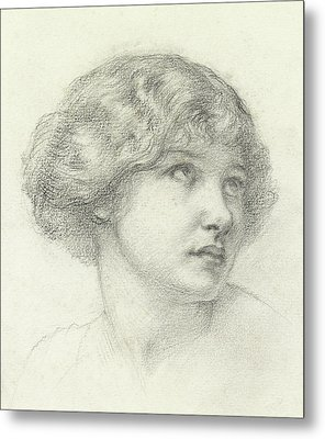 Head Of A Girl  Metal Print by Walter John Knewstub