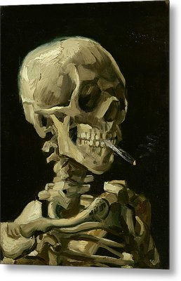 Head Of A Skeleton With A Burning Cigarette Metal Print by Vincent van Gogh