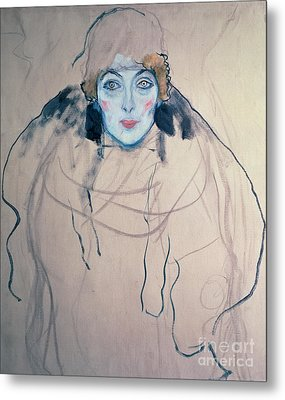 Head Of A Woman Metal Print by Gustav Klimt