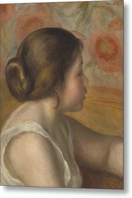 Head Of A Young Girl Metal Print by Pierre Auguste Renoir