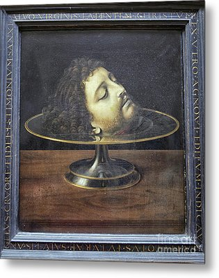 Metal Print featuring the photograph Head Of John The Baptist, 1507, With Frame And Inscription -- By by Patricia Hofmeester