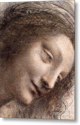 Head Of The Virgin Mary Metal Print by Leonardo Da Vinci