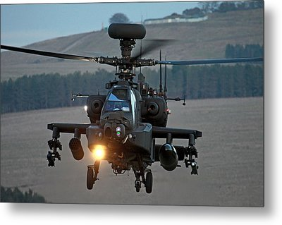 Head On Ah64 Apache Metal Print