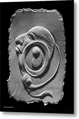Metal Print featuring the relief Head by Suhas Tavkar