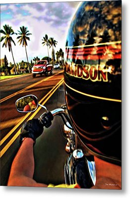 Heading Out On Harley Metal Print