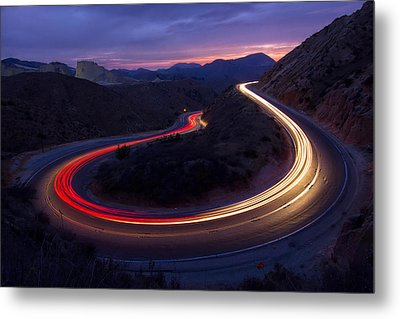 Headlights And Brake Lights Metal Print by Karl Klingebiel