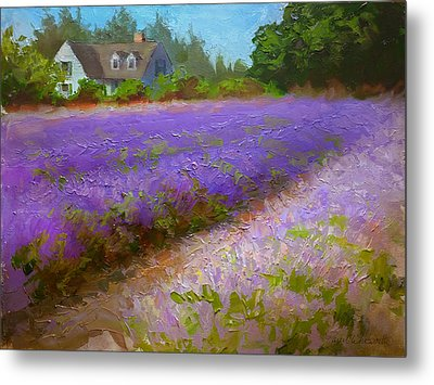 Impressionistic Lavender Field Landscape Plein Air Painting Metal Print by Karen Whitworth