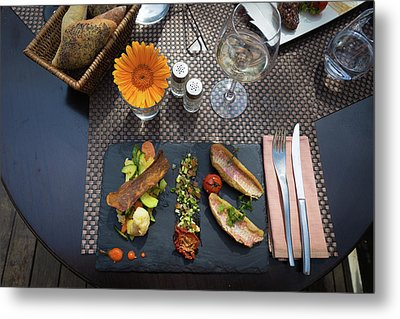 Metal Print featuring the photograph Health Fish Dish Served At A French Restaurant by Semmick Photo