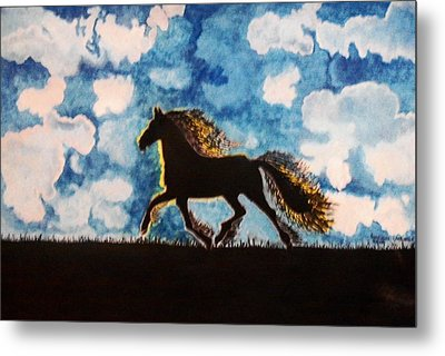 Metal Print featuring the painting Hearing Thunder by Connie Valasco