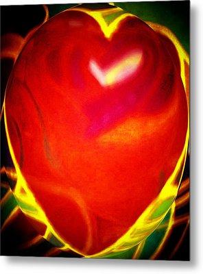 Heart Beating With Love Metal Print by Brenda Adams
