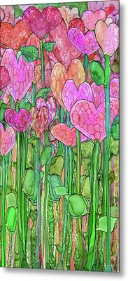 Metal Print featuring the mixed media Heart Bloomies 2 - Pink And Red by Carol Cavalaris