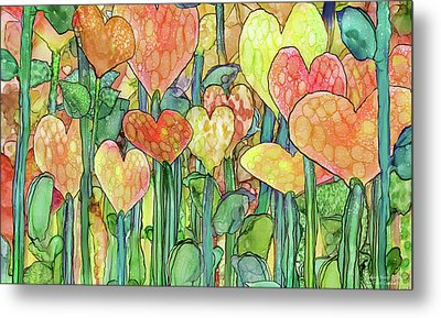 Metal Print featuring the mixed media Heart Bloomies 3 - Golden by Carol Cavalaris