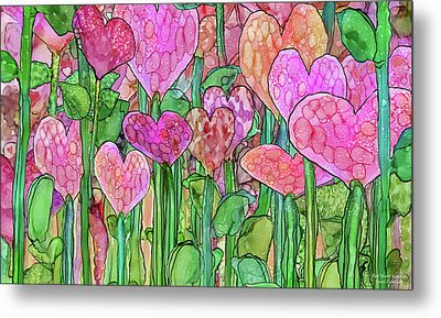 Metal Print featuring the mixed media Heart Bloomies 3 - Pink And Red by Carol Cavalaris
