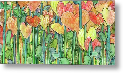 Metal Print featuring the mixed media Heart Bloomies 4 - Golden by Carol Cavalaris