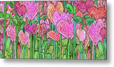 Metal Print featuring the mixed media Heart Bloomies 4 - Pink And Red by Carol Cavalaris